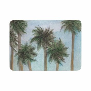 """Rosie Brown """"Tropical Forest"""" Blue Green Coastal Nature Watercolor Painting Memory Foam Bath Mat"""