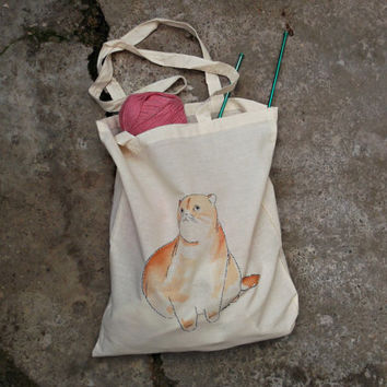 Cat canvas tote bag  hand painted in cotton  fabric - reusable shopping bag in natural color with log handles