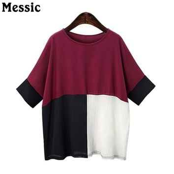 Messic 3XL Plus Size Top Women Batwing Sleeve Color Block Patchwork Shirts 2018 Summer Hit Color Half Sleeve Big Casual T-Shirts