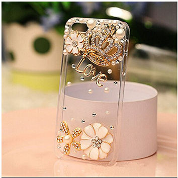Rhinestone bling crystal pearl flower Crown Diamond clear transparent back cover luxury phone case for iphone 5 5S PT2207