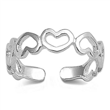 Sterling Silver Alternate Heart Toe Ring/ Knuckle/ Mid-Finger 5MM