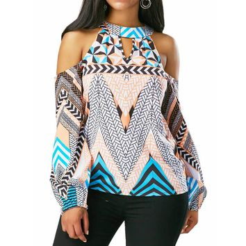 Women's Off The Shoulder Retro Boho Style Top