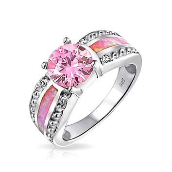 Pink Created Opal Inlay Solitaire Engagement Ring 925 Sterling Silver
