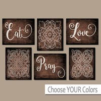 EAT PRAY LOVE Kitchen Wall Art, Kitchen Canvas or Prints, Dining Room Decor, Housewarming Gift, Kitchen Wall Decor, Set of 6 Home Decor