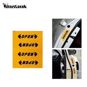 DCCKJY1 4pcs Reflective Automotive Interior Warning mark Stickers CarStyling Open Sticker Door Open Safety Auto Decor