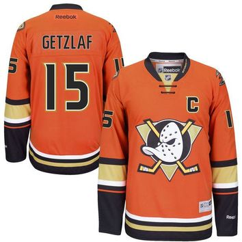 Men's Reebok Anaheim Ducks #15 Ryan Getzlaf Premier Orange Third NHL Jersey