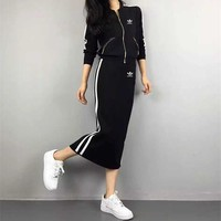 """Adidas"" Women Casual Fashion Multicolor Stripe Long Sleeve Zip Cardigan Skirt Set Two-Piece Sportswear"