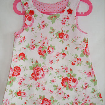 Girls dress, Cath Kidston Rosali, Kids clothing, girls clothing, aline, pinafore, tunic,100% cotton, girl, baby, toddler, size 6m to 8 years