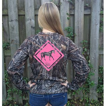 Horse Crossing Pink Camo UPF Long Sleeve Shirt