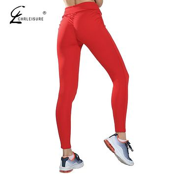 CHRLEISURE Women's Fitness Push Up Leggings Activewear High Waist Legging Candy Colors Workout Leggins Women Jeggings 5 Colors