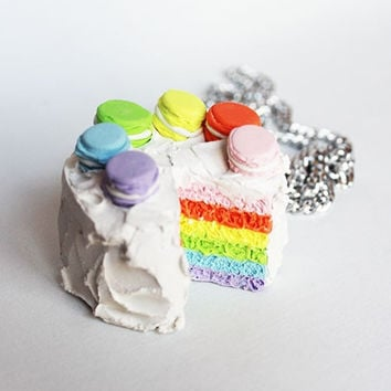 Kawaii Miniature Rainbow Layer Macron Cake Pendant Necklace