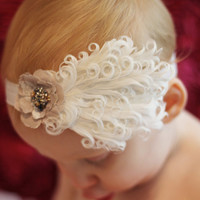 Baby Couture Headband, Beautiful feather sweet baby newborn babies toddlers children photography props princess vintage Toronto Canada