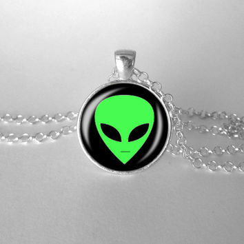 Alien Necklace, Grunge 90s Jewelry, Lime Green Black, I want to believe, Space Jewelry, Outer Space