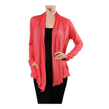 Long Sleeve Draped Open Front Light Sheer Shawl Cardigan