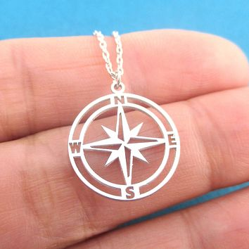 Wanderlust Long Distance Adventure Themed Compass Shaped Pendant Necklace