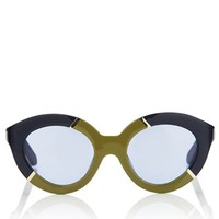 Navy Khaki Flowerpatch Sunglasses | Karen Walker | Avenue32