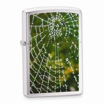 Zippo Spider Web Rain Drops Brushed Chrome Lighter - Engravable Gift Item
