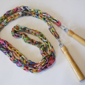 FREE SHIPPING - Jump Rope/Rubber Band Jump Rope/Handmade Jump Rope/Vintage Jump Rope/Children's Game