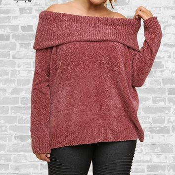 Chenille Off Shoulder Sweater - Dusty Cedar - M, L or XL only