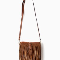 Brown Suede Fringe Crossbody Purse