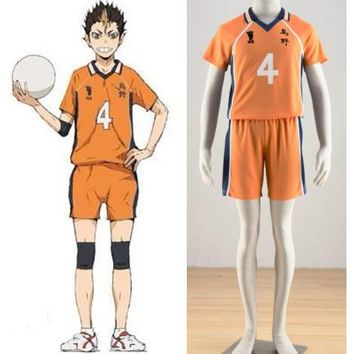 Haikyuu!!  Karasuno high school volleyball Yuu Nishinoya yellow jersey NO.4 cosplay uniform halloween costumes