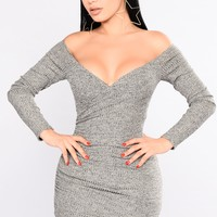 Look Over Your Shoulder Dress - Grey Taupe