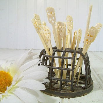 Vintage Ivory Color Bone Cocktail Picks Set of 23 Pieces - Hand Carved Elephants Atop Collection of Appetizer Sticks - Retro BarWare Servers