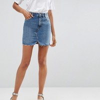 ASOS Denim Pelmet Skirt in Mid Wash Blue at asos.com
