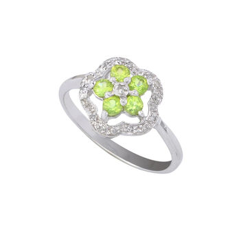 Sterling Silver .05ct Genuine Diamond Ring Flower with Peridot