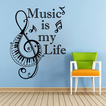 Piano Keyboard Wall Decals Music is my Quote Vinyl Stickers Note Home Decor SM19