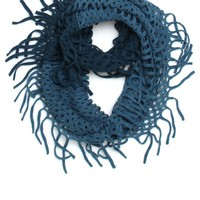 With Love From CA Two Tone Open Knit Infinity Scarf - Womens Scarves - Blue - One