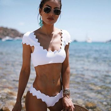 White Solid Bathing Suit Bikini Set