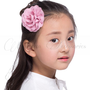 Retail 8.5cm Newborn Chiffon Petals Poppy Flower Hair Clips Rolled Rose Fabric Hair Flowers For Kids Girls Hair Accessories