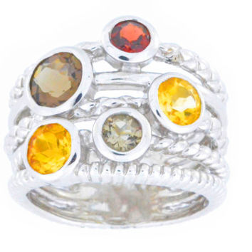 4 Ct Garnet Citrine & Smoky Quartz Bezel Ring .925 Sterling Silver