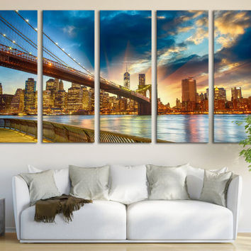 New York Cityscape Canvas Print Wall Art Multi Panel Wall Decor/ New York Skyline Photography Canvas Print for Home & Office Wall Art Decor