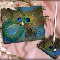 Peacock Feathers Wedding Guest Book and Pen Set