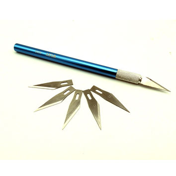 Non-Slip Metal Knives 6 Blades Carving Tools Set Rubber Cutting Art High Carbon Knife Pen For Stationery Art Supplies ZK15