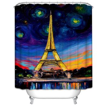 Modern Bathroom Shower Curtains With Hooks World Map / Old Wooden Garage / Paris Eiffel Tower / Big Ben / 3D Dolphin Large Size