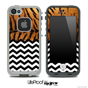 Mixed Tiger Print and Chevron Pattern Skin for the iPhone 5 or 4/4s LifeProof Case