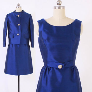 Vintage 60s LILLI ANN SUIT / 1960s Cobalt Blue Silk Rhinestone Trim Dress & Blazer Jacket Cocktail Set S