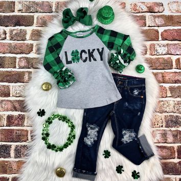 RTS Green Plaid Lucky Raglan D13