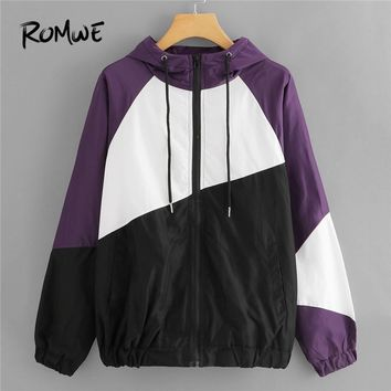 Trendy Winter Jacket ROMWE Color Block Drawstring Hooded  Women Casual 2018 Autumn Long Sleeve Clothing Coat Multicolor Zip Up Hoodie Outerwear AT_92_12