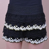 Retro floral embroidery lace crochet shorts 92
