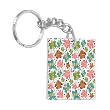 Retro Shapes Bugs Surface Pattern Keychain