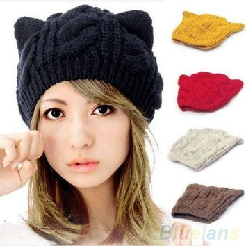 PEAPUNT Women's Winter Knit Crochet Braided Cat Ears Beret Beanie Ski Knitted Hat Cap  1QEW 4BTT