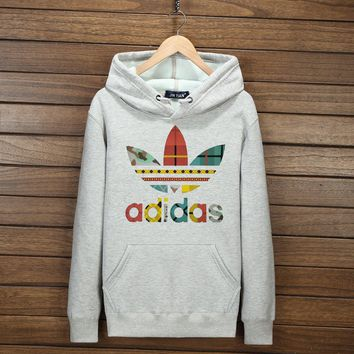 Women Men Couple Adidas Print Hoodie Sweatshirt Tops Sweater Pullover 7-Color Light grey I-YSSA-Z