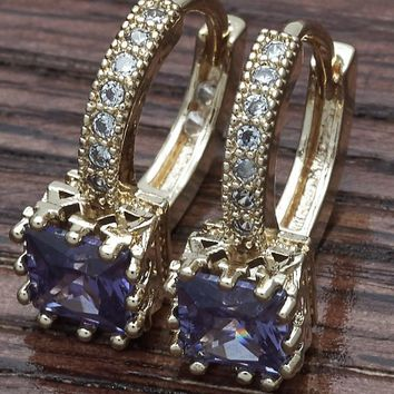 Gold Layered Women Leverback Earring, with Amethyst Cubic Zirconia, by Folks Jewelry