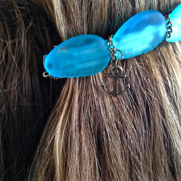 Sea Glass Barrette, Large, Mermaid Hair Clip, Blue Sea Glass, Something Blue, Ocean Hair Accessory, Beach Bride, Beach Wedding, Nautical