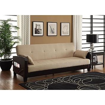 Faux Leather Convertible Sofa Sleeper Couch Bed with Cup Holders and Storage Arms