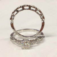 Moissanite Engagement Ring Sets Pave Diamond Wedding 14K White Gold 5mm Art Deco Antique